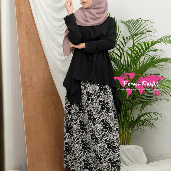 Abstract Skirt Black White