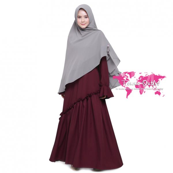Fatihah Dress Red Wine M