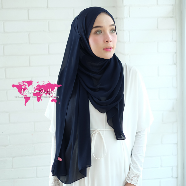 Plain Chiffon Shawl Pashmina Dark Navy Blue