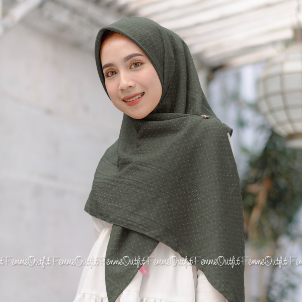 Aletty Shawl Square Dusty Army