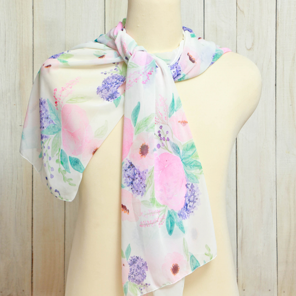 Scarf  Flower Purple Blossom