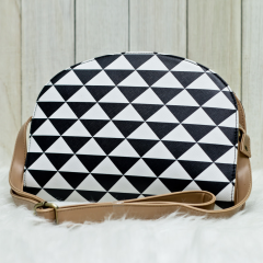 B & W Triangle Halfmoon Bag