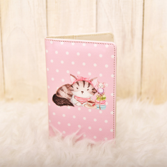 Parisian Cat Polkadot Pink Passport Cover