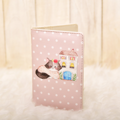 Parisian Cat Polkadot Grey Passport Cover