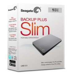 SEAGATE BackUp Plus Slim 1TB - USB 3.0 Portable External Hard Drive (Silver)