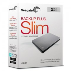 SEAGATE BackUp Plus Slim 2TB - USB 3.0 Portable External Hard Drive (Silver)