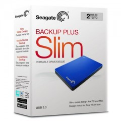 SEAGATE BackUp Plus Slim 2TB - USB 3.0 Portable External Hard Drive (Blue)