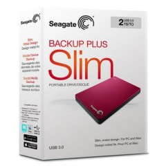SEAGATE BackUp Plus Slim 2TB - USB 3.0 Portable External Hard Drive (Red)