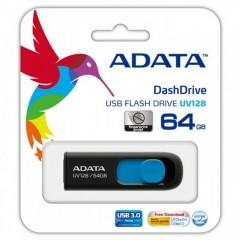 ADATA DashDrive UV128 64GB - USB 3.0 Capless Flash Drive