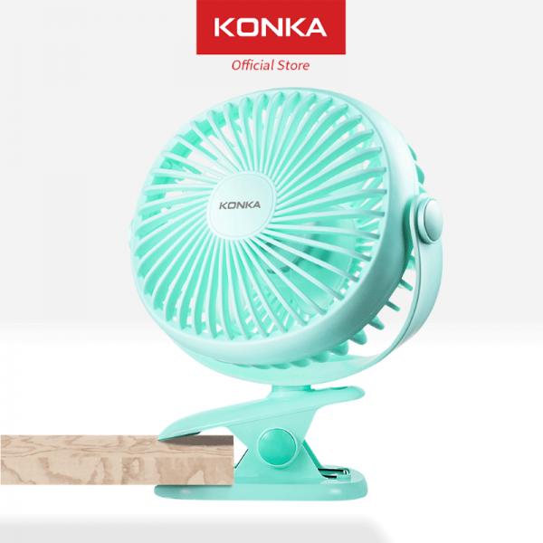 Konka Clip Fan kipas angin kecil meja portable 5 inch 360 derajat, USB mini fan low watt