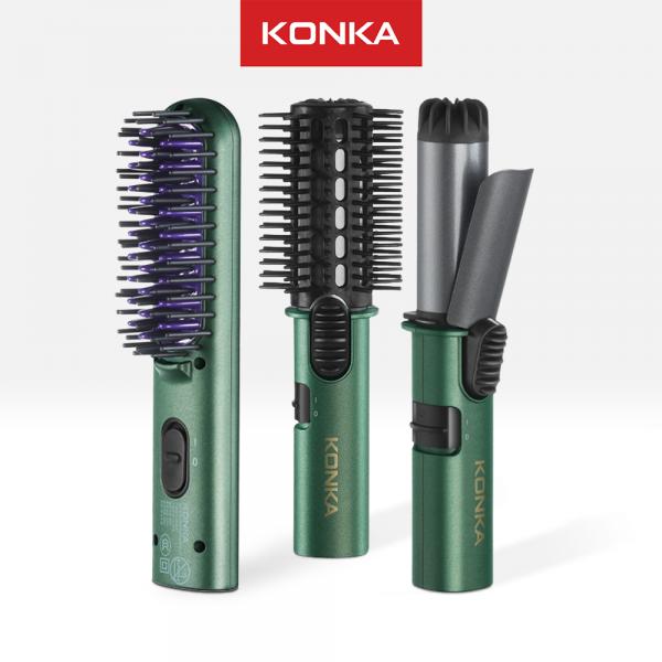 KONKA Electric Comb, Penata Rambut Portable 3 in 1, set sisir elektrik, catokan pengeriting rambut