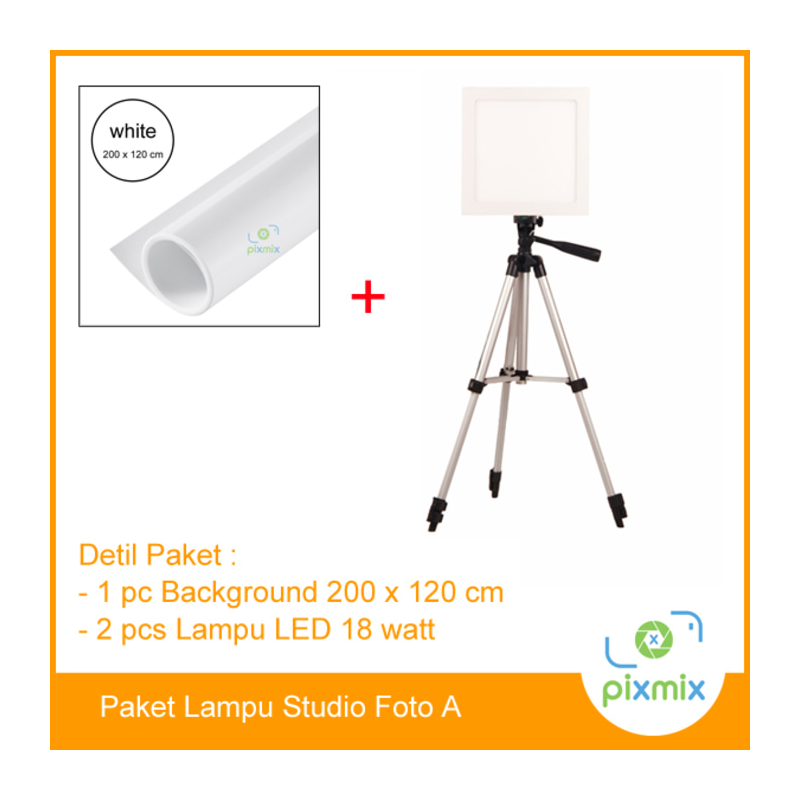 Paket Foto Studio Small | 2pcs lampu 18Watt + background 200 x 120cm