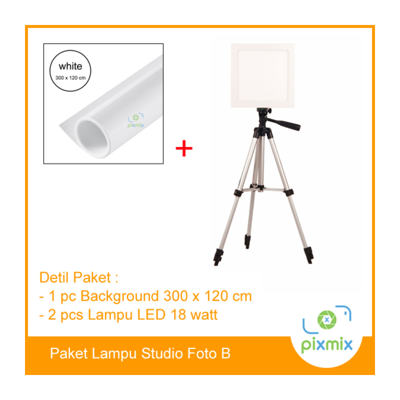 Paket Foto Studio Small | 2pcs lampu 18Watt + background 300 x 120cm
