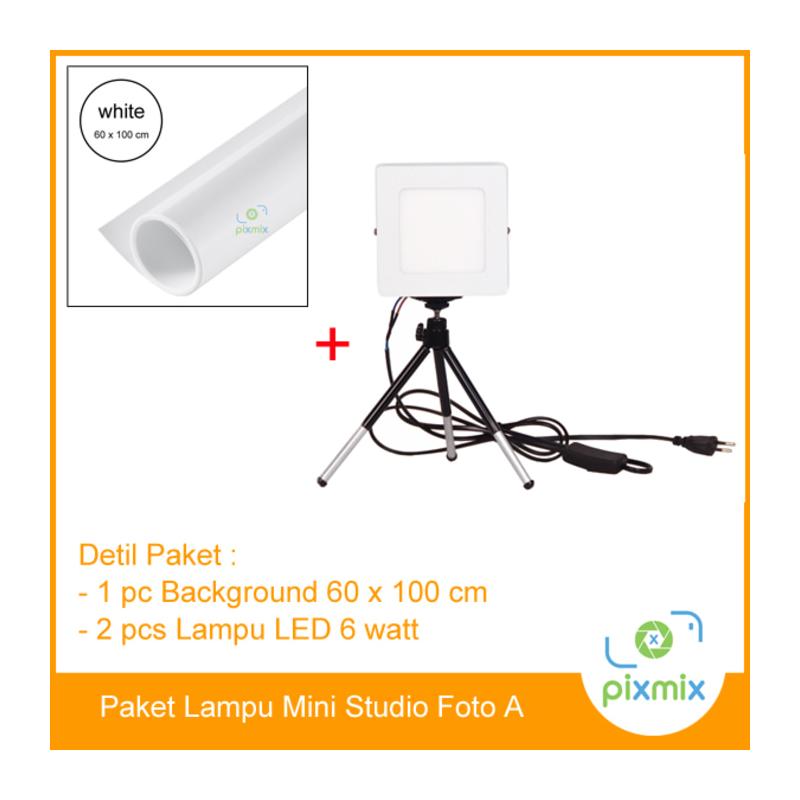 Paket Lampu studio | 60cm Background + 2pcs lampu 6Watt