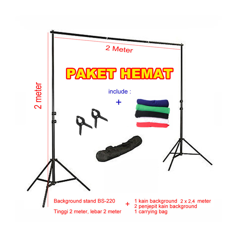 Background stand 2 x 2 meter | paket dengan background kain 2 x 2,4 m
