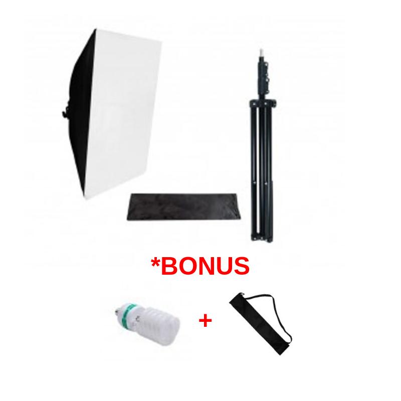 Softbox Lampu Studio 1 titik + Stand + Bonus Lampu