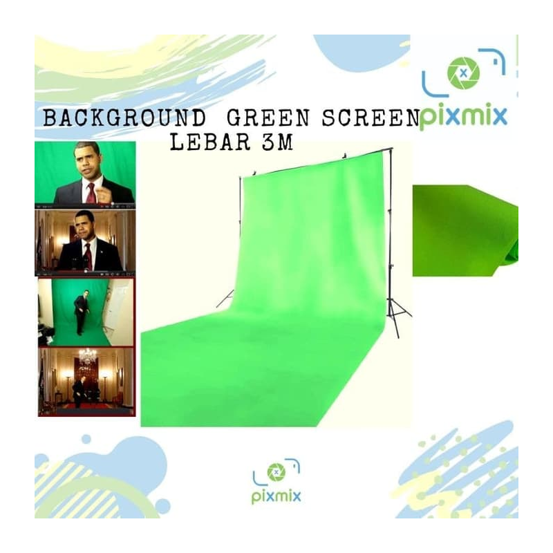 Background Foto Hijau Polos Lebar 3M (Green Screen) Bahan Non woven