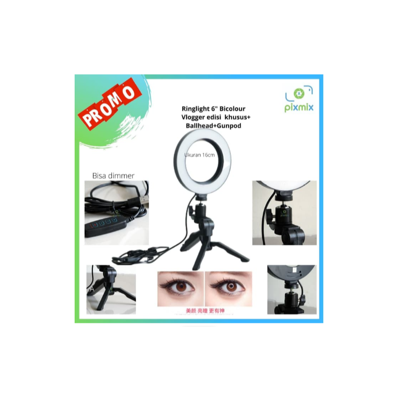 LED Mini RingLight bicolour + dimmer - ringlight vlogger + Tripod