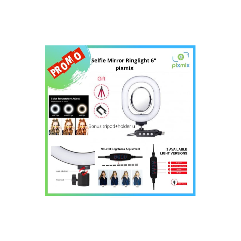 Ringlight led mini + Cermin make up mirror led edisi pixmix
