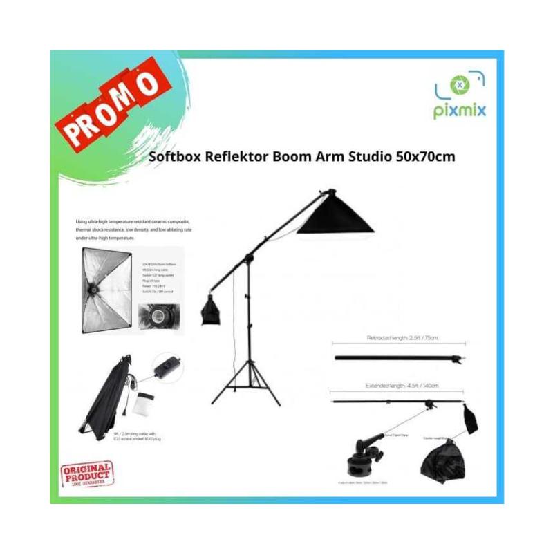Softbox Reflektor Boom Arm Studio 50x70cm Bonus Lampu