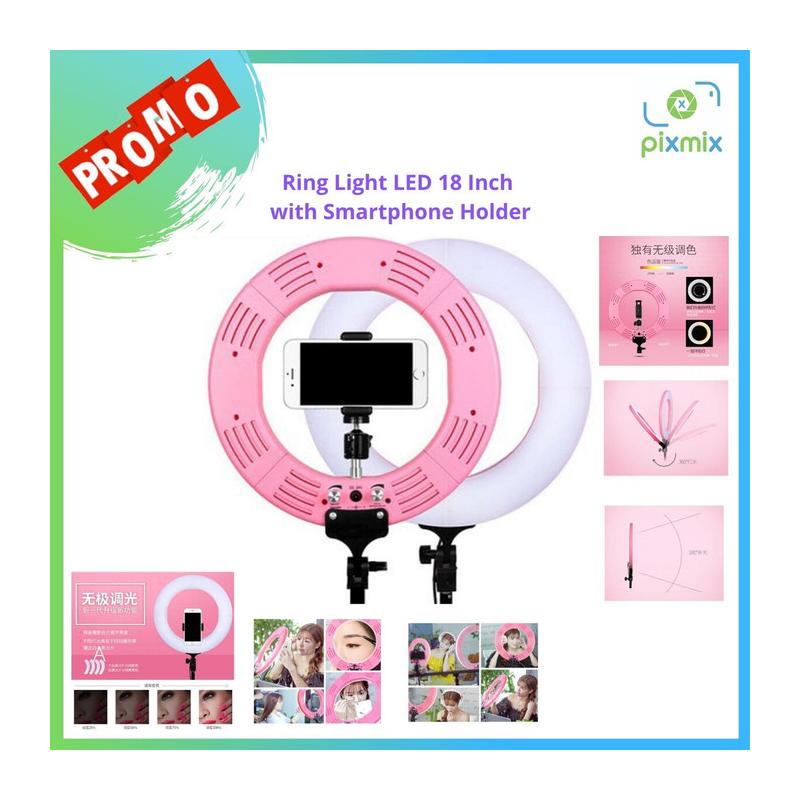 RingLight LED 18 Bonus Smartphone Holder Edisi Khusus Pixmix Limited