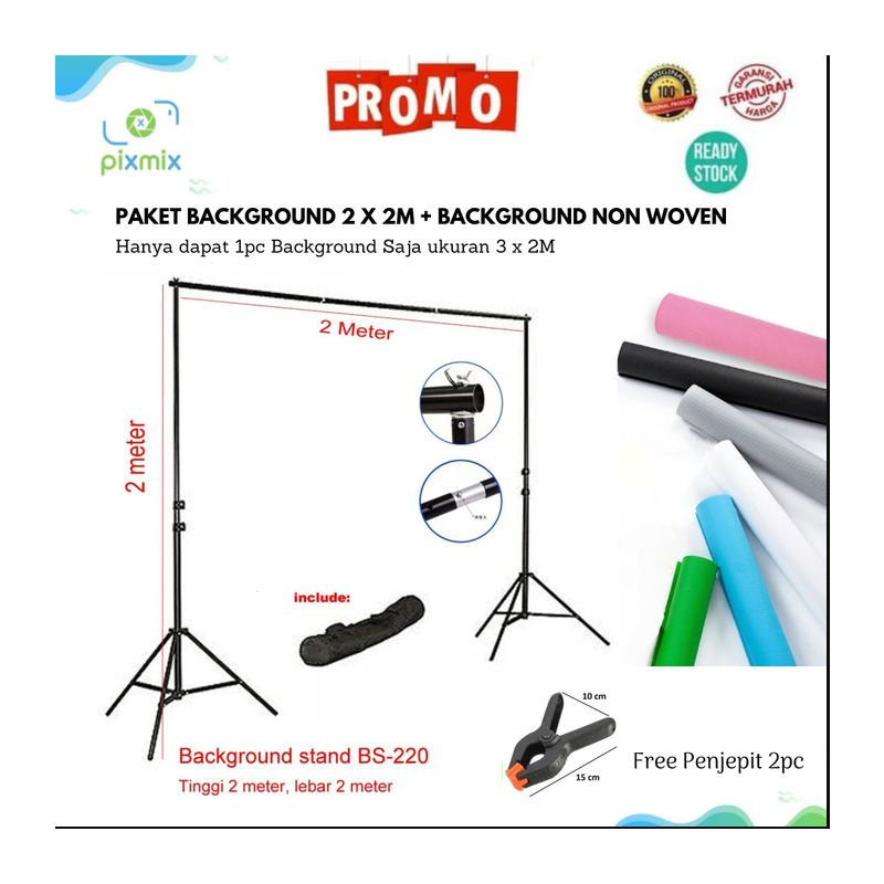 Paket Stand Background 2 x 2M + Background Non Woven 3 x 2M