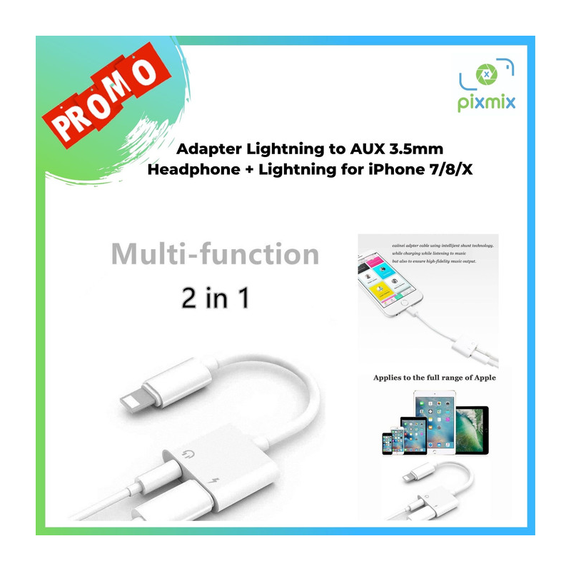 Adapter Lightning to AUX 3.5mm Headphone + Lightning for iPhone