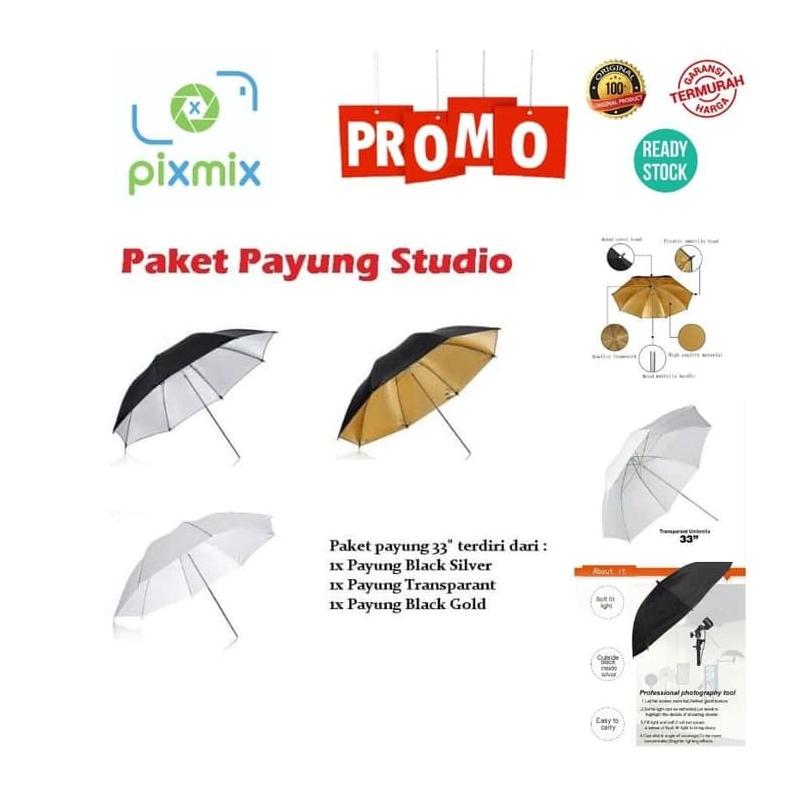 Payung Studio Foto - Paket Studio Strobist flash Payung 3 warna Paket