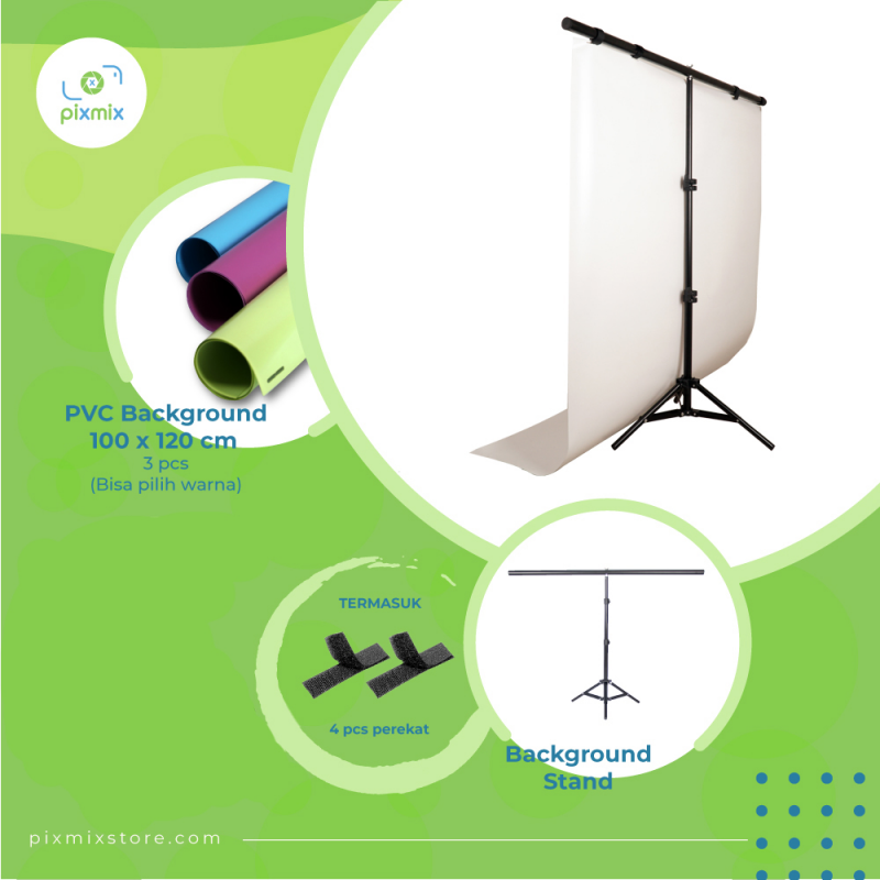 Background Foto | Studio Mini | Paket Small BG 3 x 100cm + STAND BS100T