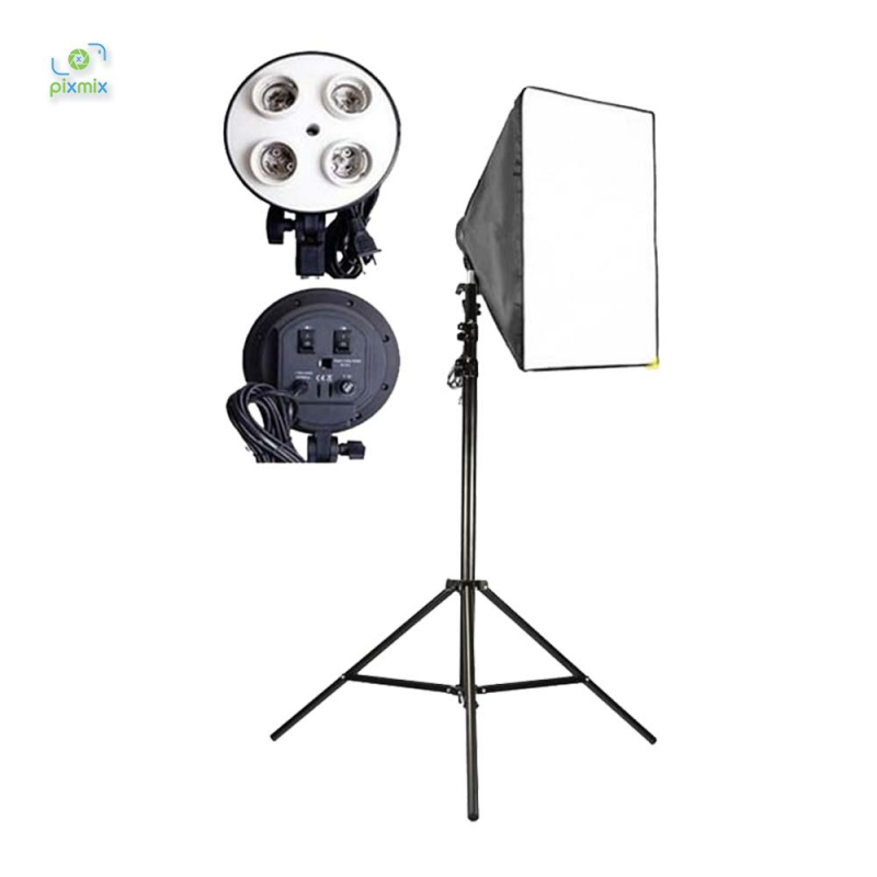 Paket Softbox 4 head E27 + Tiang