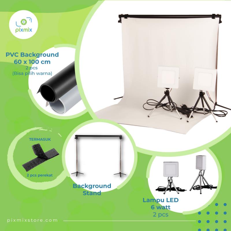 PAKET KOMPLIT MINI STUDIO FOTO- 2x 60 CM BACKGROUND + 6 W LAMP + STAND