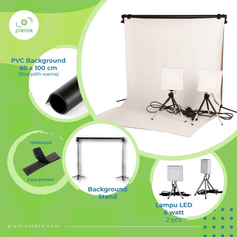 PAKET KOMPLIT MINI STUDIO FOTO - 60 CM BACKGROUND + 6W LAMP + STAND