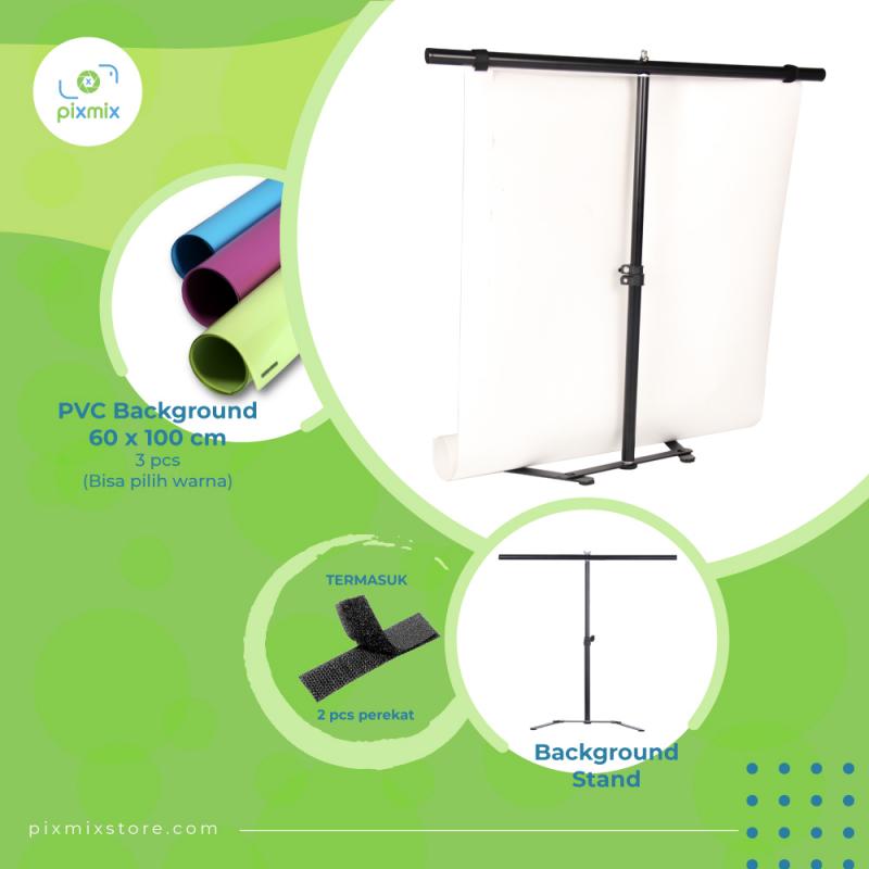 Paket Mini Background STAND A70 - 3 x 60cm Background WARNA + STAND 70