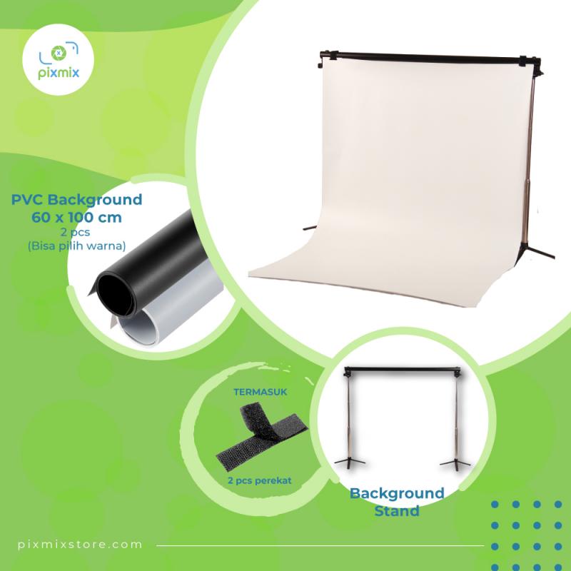 Studio Foto | Paket Background 2 x 60cm + STAND BS65