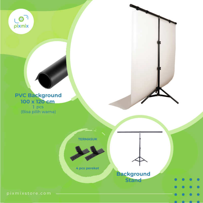 Studio Foto | Paket Small Background 100 x 120cm + STAND BS100T