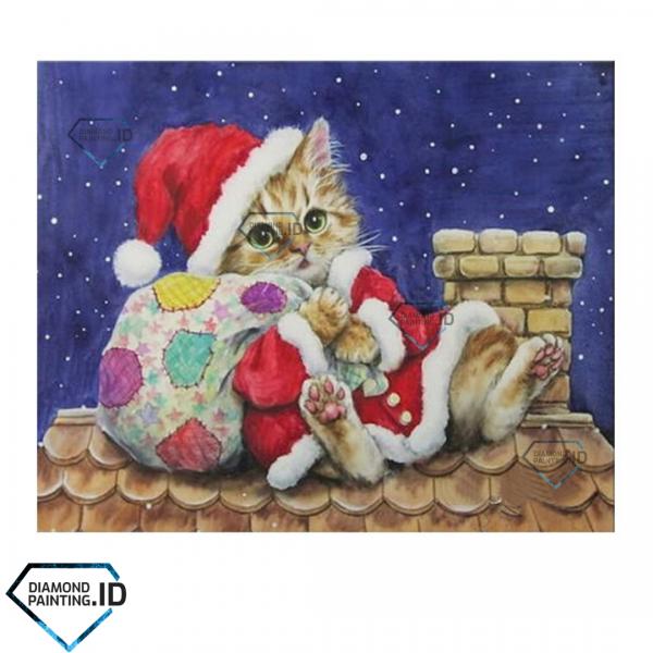 5D DIY Full Drill Diamond Painting Christmas Cat 50x40cm