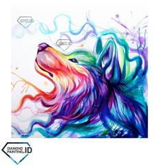 5D DIY Full Drill Diamond Painting Colorful Dog 50x40cm