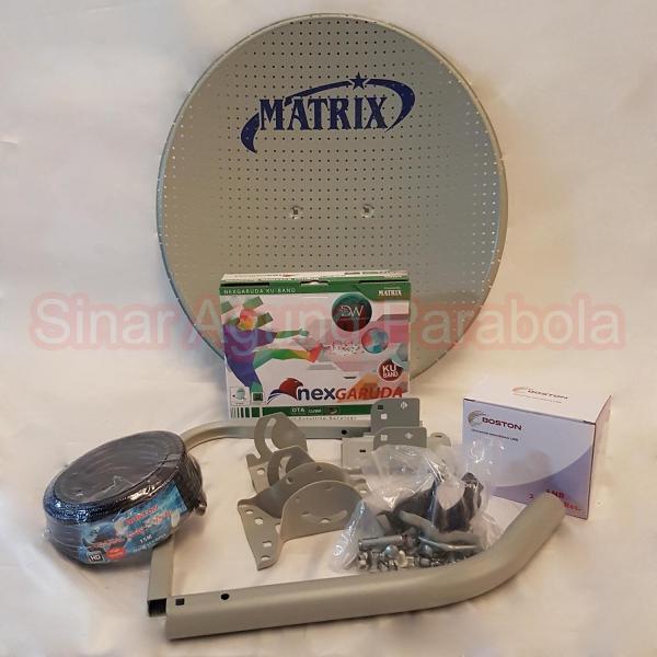 Paket NexGaruda Hijau dan Antena Matrix 45cm ODU Bolong Bolong Dua Satelit