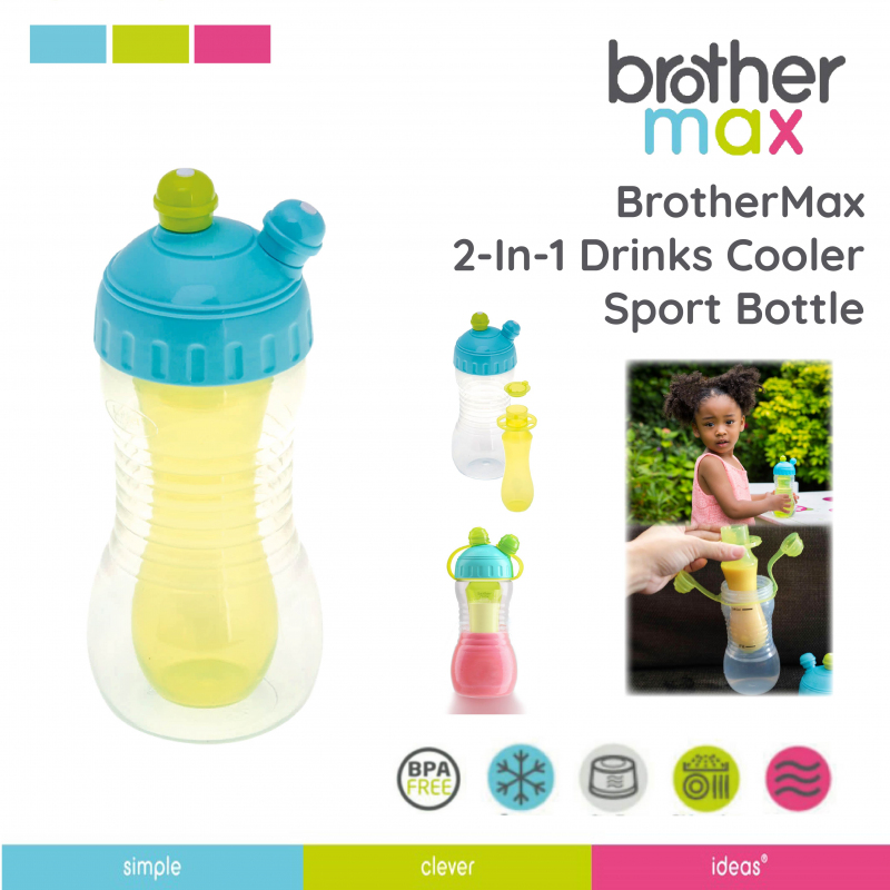 2-in-1 Drinks Cooler Sports Bottle Blue Green