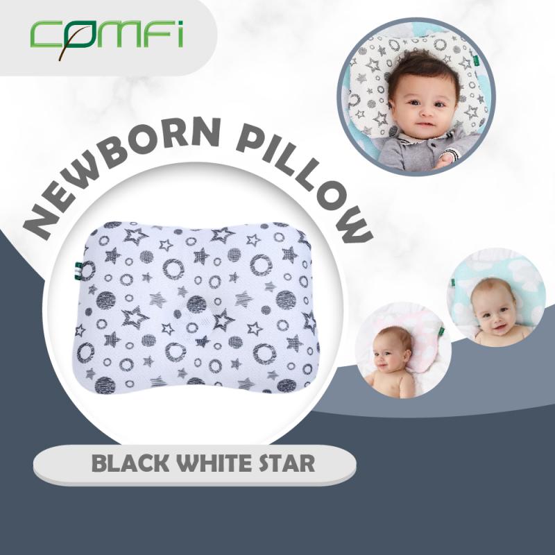 Comfi Newborn Pillow Black-White Star