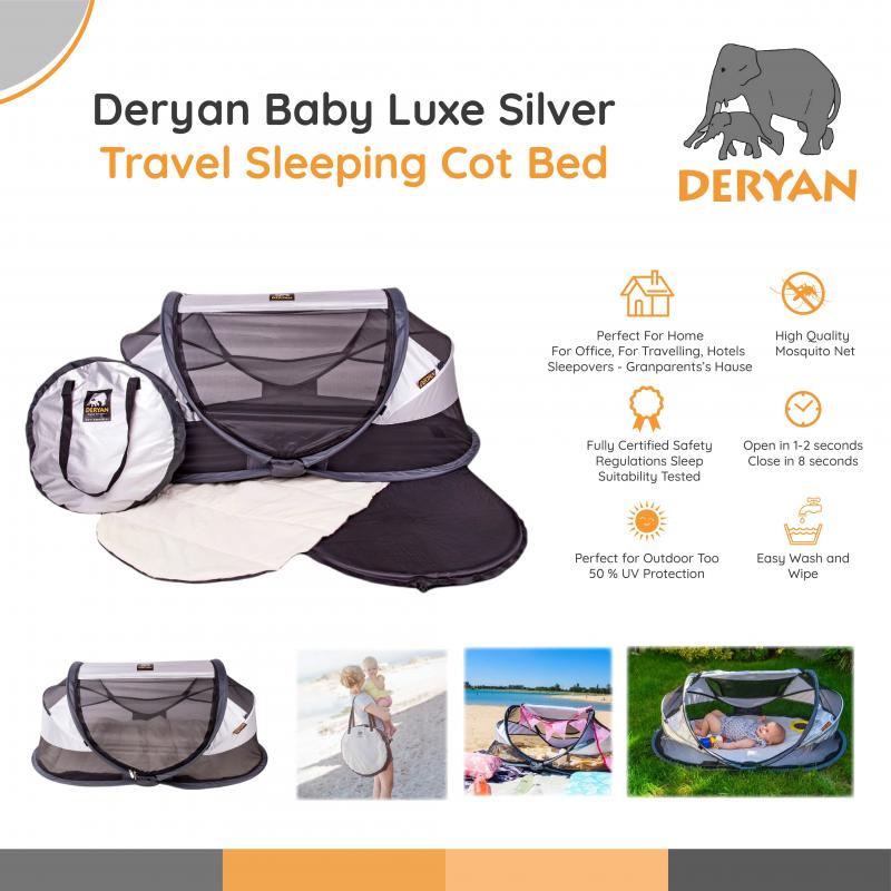 Deryan Baby Luxe Silver - Travel Sleeping Cot Bed