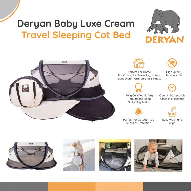 Deryan Baby Luxe Cream - Travel Sleeping Cot Bed
