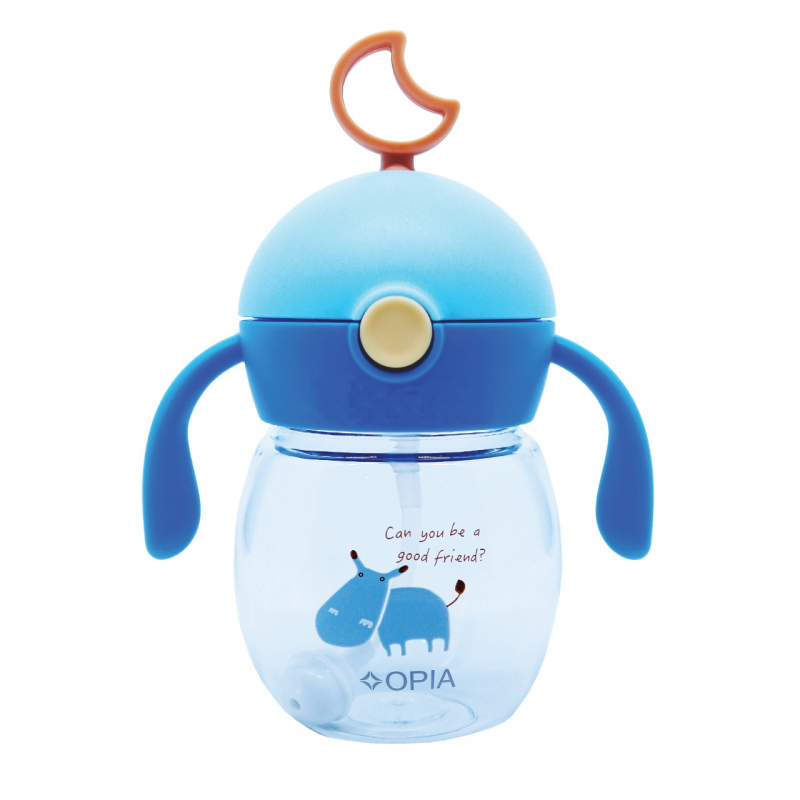 OPIA Straw Handle Bottle Globe Blue (TBG280 - Blue Hippo)
