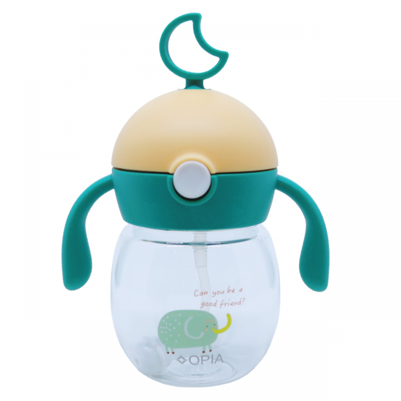 OPIA Straw Handle Bottle Globe Green (TBG280 - Green Elephant)