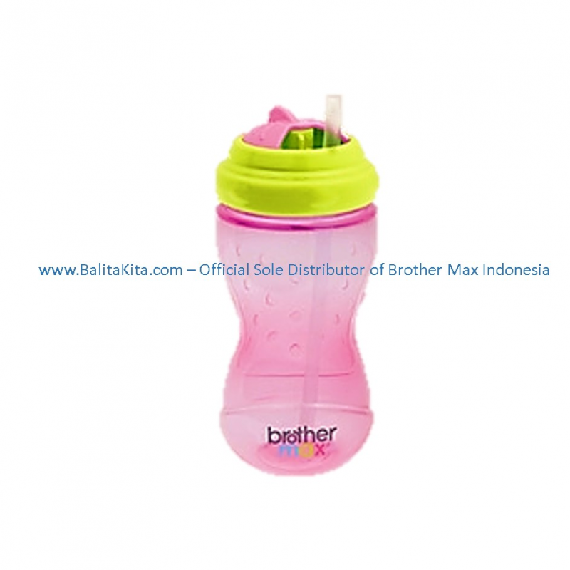 Swivel Straw Bottle Pink Green