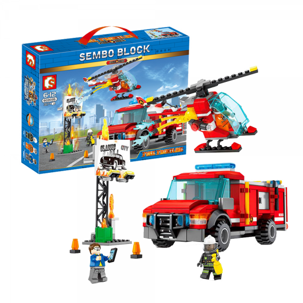 Sembo City 603035 The Fire Truck With Rescue Helicopter Lego KW