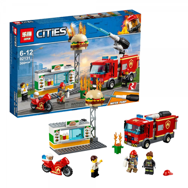 LEPIN City 02131 Burger Bar Fire Rescue Lego KW 60214