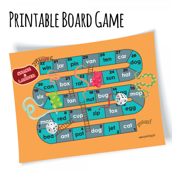 Printable Snake and Ladder Board Game Ular Tangga