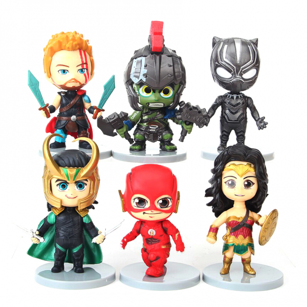 Figure Chibi Avengers and Justice League isi 6 pcs