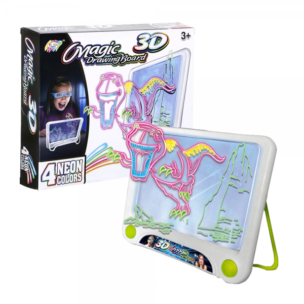 3D Mainan Magic Tablet Drawing Board Neon